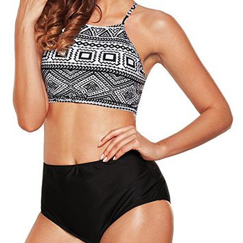 Angerella Womens Retro Classic Crop Top Bikini Two Piece Swimsuit Banded Swimwear