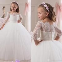 2016 Lace Long Sleeves Tulle Flower Girl Dresses Vintage Child Pageant Dresses Beautiful Holy Communion Dresses For Weddings F95