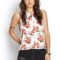 FOREVER 21 Rose Print Muscle Tee Cream/Rose