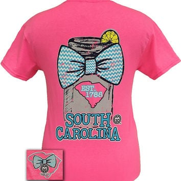 Girlie Girl Originals South Carolina Chevron Mason Jar Preppy State Bow Bright T Shirt