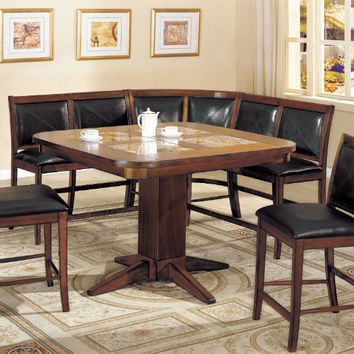 Furniture of america CM3568PT-6PC 6 PC Living stone ii tobacco finish wood marble inserts table top dining table set