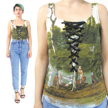 Vintage Moschino Top Sleeveless Cotton Blouse Corset Lace Up Designer Moschino Jeans Top Scene Novelty Print Victorian Fitted Shell Tank (M)