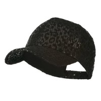 Animal Leopard Print Sequin Cap - Black W31S53A