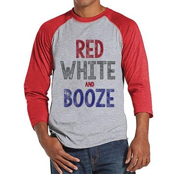 Men's 4th of July Shirt - Red, White & Booze Shirt - Red Raglan Shirt - Men's Red Baseball Tee - Funny Fourth of July Shirt - USA Pride