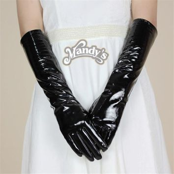 SHOUHOU 2017 women leather gloves genuine sheepskin leather gloves party show long bright bling oprea solid gloves mittens