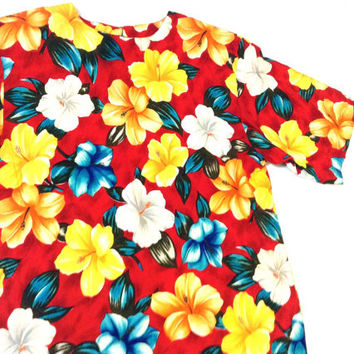 Vintage colorful top. Vibrant Flower Print blouse. The bold flower red top