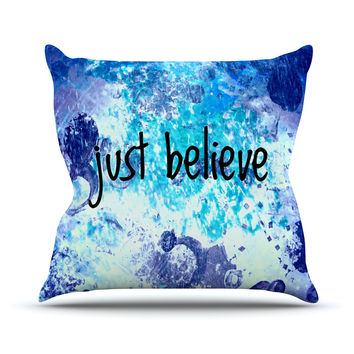 "Ebi Emporium ""Just Believe"" Blue Purple Outdoor Throw Pillow"