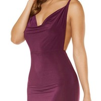 Sexy Cowl Neck Mini Dress with Low Back Detail