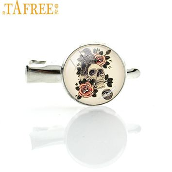 TAFREE Crow Skull hairgrips flowers raven skull hairpin personalized rose picture artwork hair clip pins for women jewelry T562