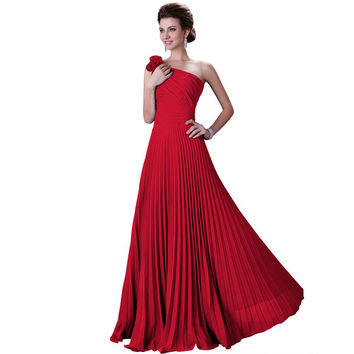 New One Shoulder Evening Dresses Chiffon Red Formal Gowns
