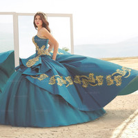 BEADED STRAPLESS QUINCEANERA DRESS BY RAGAZZA FASHION STYLE B74-374