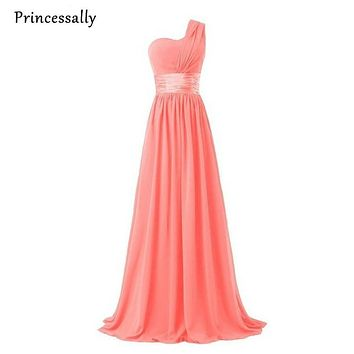 Coral Colored Bridesmaid Dresses One Shoulder Chiffon Burgundy Bridesmaid Dresses Royal Blue Gown Emerald Green Prom Dresses New