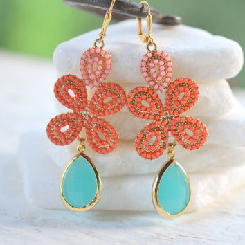 Coral Orange and Turquoise Statement Earrings in Gold.  Bold Summer Statement Earrings. Long Dangle Earrings.