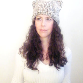 Hand Knit Cat Beanie Hat-Womens Knit Hat- Knitted Cat Ears Hat- Animal Knit Cat Ear Hat - Grey White Brown- THE MINX // Ready To Ship