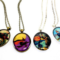 Halloween Oval Pendant on Chain, Resin Coated, Vintage Images