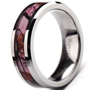 CERTIFIED 6mm Deer Antlers Pink Camouflage Titanium Wedding Rings Comfort Fit | FREE ENGRAVING