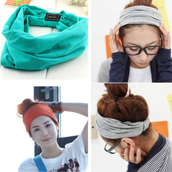 New variety of wear method Cotton Elastic Sports Headbands Wide Headband HB054
