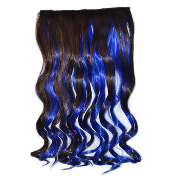 5 Cards Wig Piece Hair Extension Highlights    dark brown sapphire blue bleach and dye