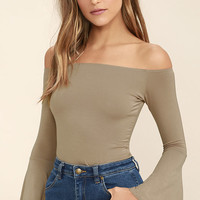 Flirt Factor Taupe Off-the-Shoulder Top