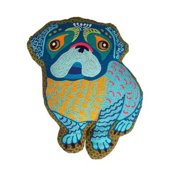 Cutest Embroidered Pug Pillow