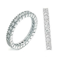 Sterling Silver CZ Eternity Wedding Band Ring size 4 5 6 7 8 9 10