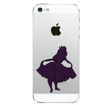 Alice In Wonderland Two Fabric Phone Stickers - Alice iPhone decor - Galaxy Black Decal -  2 Nexus Electronic Sticker