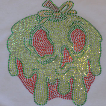 "7"" Snow White POISONED APPLE iron on rhinestone TRANSFER for Disney t shirt"