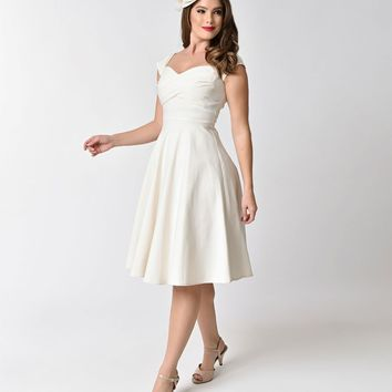 Stop Staring! Mad Style Ivory Cap Sleeve Swing Dress