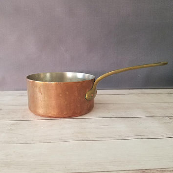 Vintage Copper Saucepan/ French Copper Pot/ 2mm Copper Pot/ Antique Copper Pot/ Copper Saucepan/ Tin Lined Copper Pot/ Brass Handle