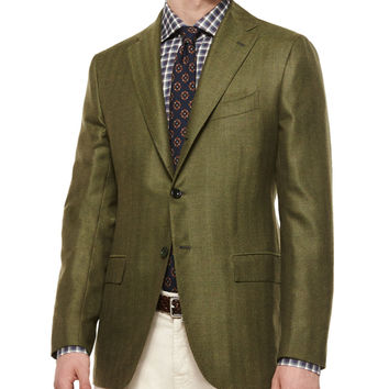 Herringbone Two-Button Cashmere Sport Coat, Green