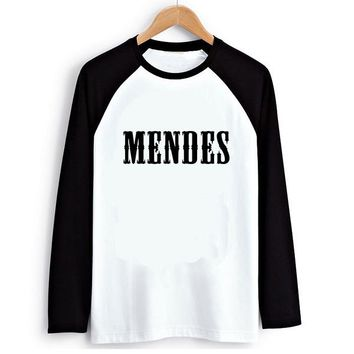 Loose Style Rock Music Shawn Mendes Women PVC Letter Print T-shirt Female Raglan Long Sleeve Tshirt T Shirts Tee Clothes