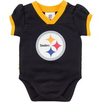 Pittsburgh Steelers Dazzle Mesh Bodysuit - Baby Girl, Size: