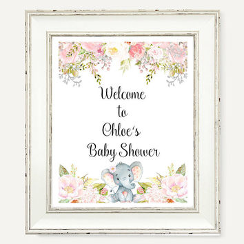 Baby Shower Welcome Sign, Watercolor Floral Party Printable Prin