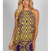 Purple and Gold Gameday Geo Print Dress