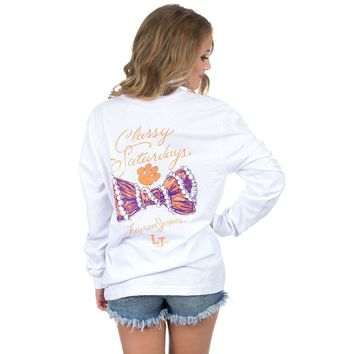 Clemson Classy Saturday Long Sleeve Tee in White by Lauren James - FINAL SALE