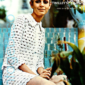 Twiggy Quick Crochet Suit Easy Instant Download PDF Crochet Ladies Suit Pattern Twilley's 689 Holiday Great Beginner Festival Bust 32 34 36
