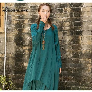 Spring autumn women solid color cotton linen irregular dresses New 2017 loose waist casual dress plus size clothing 85220