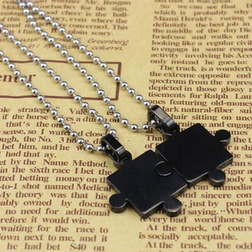 Feitong Best Deal New Fashion Mens Women Couple Stainless Steel Puzzle Pendant Necklace Lovers' Pendant Perfect Gift 1pair
