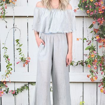 ELAN: Off Shoulder Striped Cropped Jumpsuit {Blue/Natural}