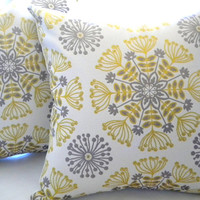 Decorative pillow cover - Yellow - silver - gray- grey- Designer  - Throw pillow - 16 x 16
