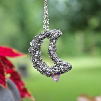 Fluorite Moon Necklace, Crystal Necklace, Pyrite Jewelry, Crescent Moon Jewelry, Wiccan Jewelry, Pagan Necklace, Raw Gemstone Pendant
