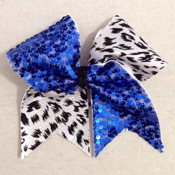 Cheetah Tick Tock Blue Sequin Cheer Bow