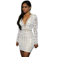 Lace Sexy Long Sleeve V Neck Plaid Erotic One Piece Dress _ 11983