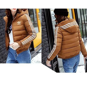 """Adidas"" Women Fashion Letter Print Stripe Cardigan Long Sleeve Hoodie Jacket Coat"