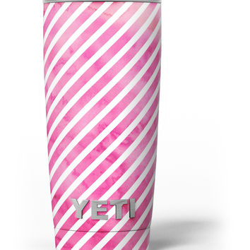 The Pink Watercolor Grunge with Slanted Stripes Yeti Rambler Skin Kit