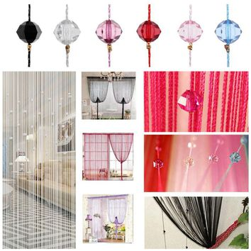 Beautiful String Curtain Tassel Curtain Crystal Beads Silk Window Door Divider Sheer Curtains Valance Door Windows Panel Curtain