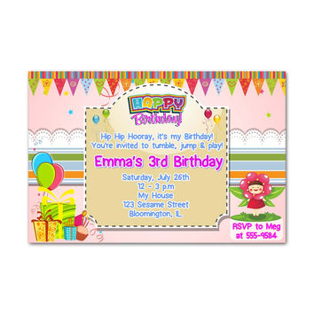 Tumble Jump and Play Kids Birthday Invitation Party Design