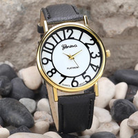 Fashion Dress Watches Women Dial Pu Leather Band Quartz Analog Wrist Watches Hours Clock 4 Styles