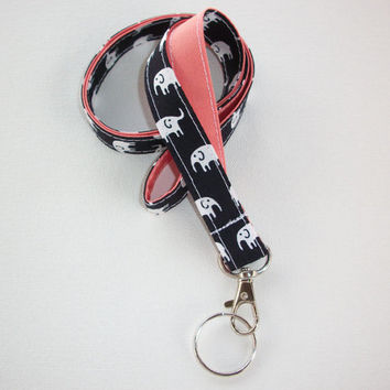 Lanyard  ID Badge Holder - Black and white elephants with coral  - Lobster clasp and key ring