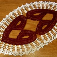 Heart To Heart Crochet Lace Oval - Romance Decor Handmade - RSS Designs In Fiber
